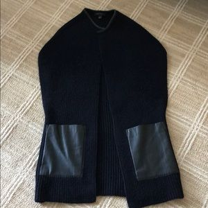 Ann Taylor Navy and Black Faux Leather Cardigan, S
